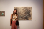 Artist Erin Morrison with her work.