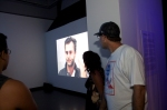 "Patrons enjoy Constantin Hartenstein ""Event Horizon"" video installation."