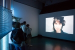 Patrons enjoying Constantin Hartensten video installation.