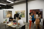 Patrons enjoying the studio and artwork of CSUF MFA student and GCAC resident Sara Dehghan.