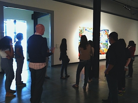 Fullerton College Prof. Carol Henke's class tours with GCAC Director/Chief Curator John D. Spiak