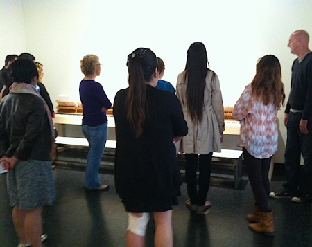 Amy Grimm's Irvine Valley College class discusses the work of CSUF MFA student Patrick Faulk