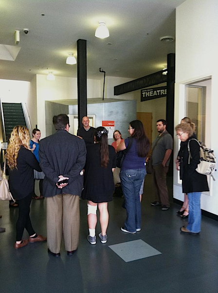 Amy Grimm's Irvine Valley College class is discussion with GCAC Director/Chief Curator John D. Spiak