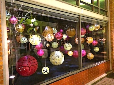 lanterns through window